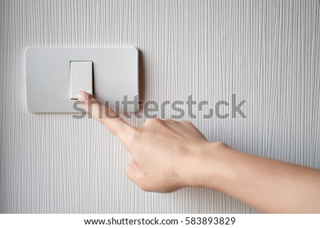 Close Up Of Finger Is Turning On Or Off Light Switch Copy Space