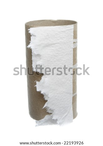 close up of finished toilet rollr on white background with clipping path - stock photo