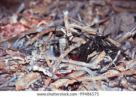 Close-up of fire wood ash. Natural background. - stock photo