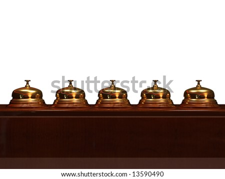 Close up of five golden bell - rendered in 3d - stock photo
