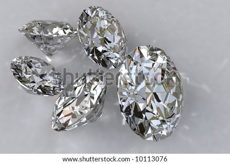 Close-up of five unmounted diamonds