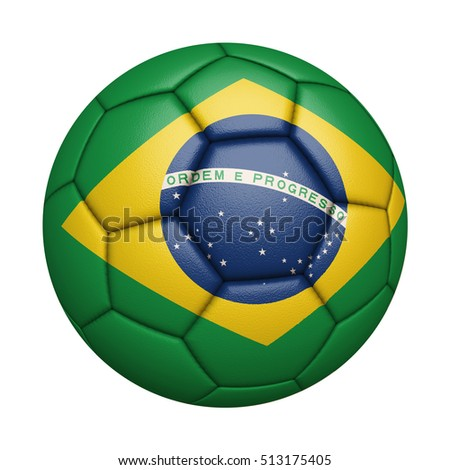 Close-up of flag football / soccer ball of Brazil isolated on white (High-resolution 3D CG rendering illustration)