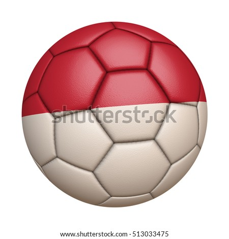 Close-up of flag football / soccer ball of Indonesia isolated on white (High-resolution 3D CG rendering illustration)