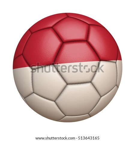 Close-up of flag football / soccer ball of Monaco isolated on white (High-resolution 3D CG rendering illustration)