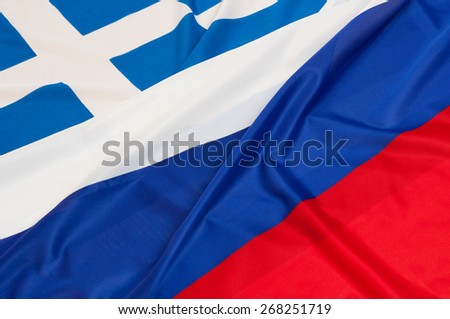 Close up of flags of Russia and Greece