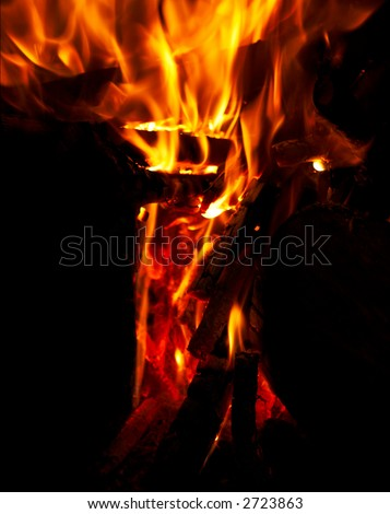Close-up of flames and fire on a black background - stock photo