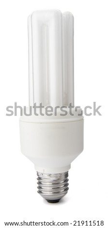 close up of fluorescent light bulb on white background with clipping path - stock photo