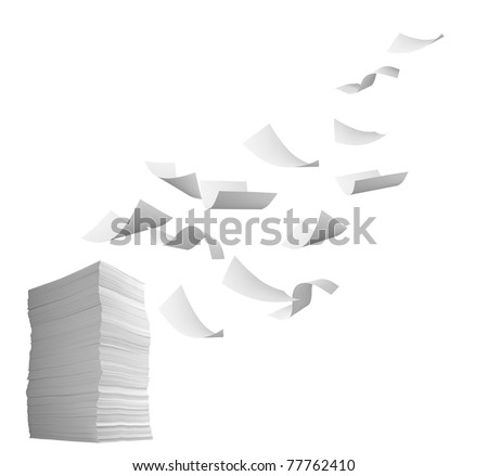 close up of flying  paper and stack of papers on white background