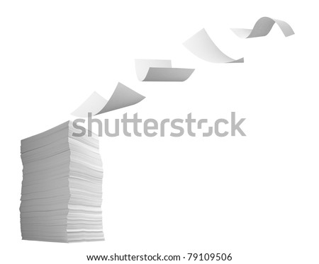 close up of flying  paper and stack of papers on white background - stock photo
