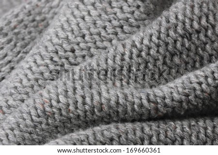 Close up of folded wool material with shallow depth of field - stock photo