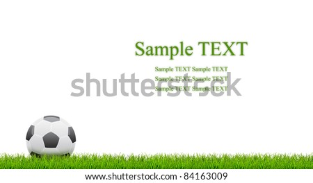 Close-up of foot ball with green grass isolated with room for text