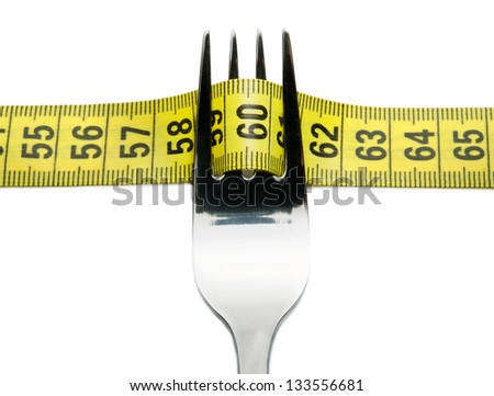 Close-up of fork with measuring tape