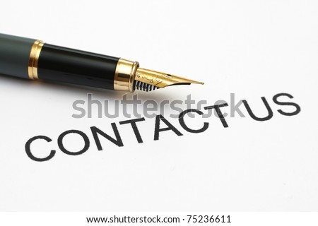 Close up of fountain pen on contact us - stock photo