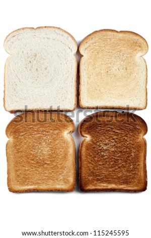 Close up of four color image bread against white background - stock photo