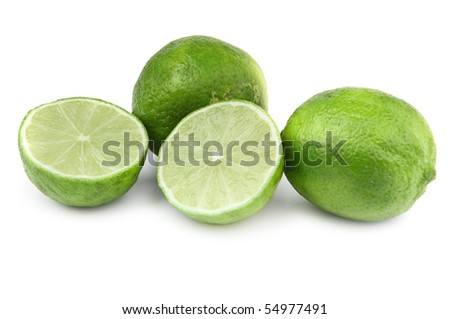 close-up of four lime fruit on white background, small natural shadow in front