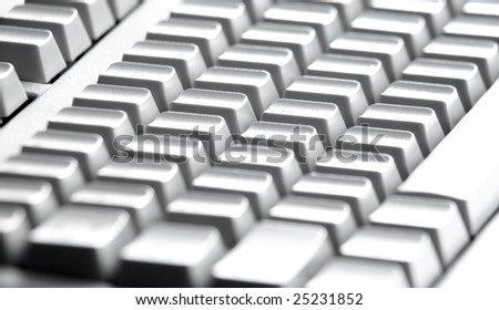 Close-up of four rows of buttons of computer keypad - stock photo