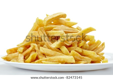 close up of french fries on white background with clipping path - stock photo