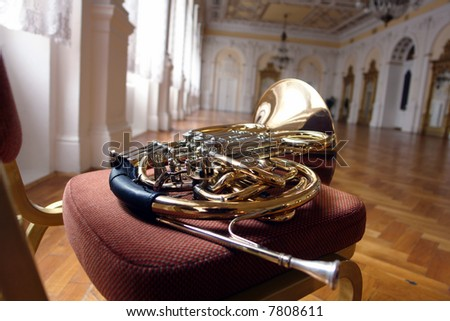 close up of french horn - stock photo