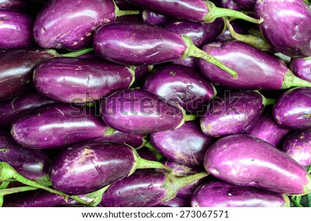 Close up of fresh aubergines (eggplant), selective focus. - stock photo