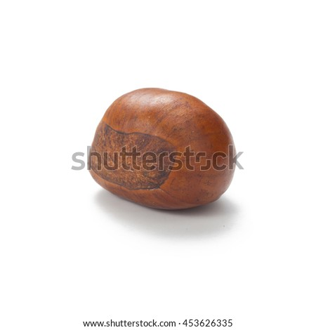 close up of fresh chestnut isolated on white background - stock photo