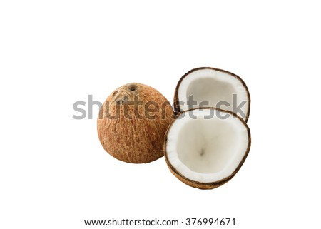 close up of fresh coconut isolated on white background with clipping path - stock photo