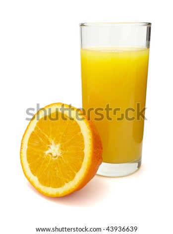 close up of fresh orange juice preparation, on white background  with clipping path