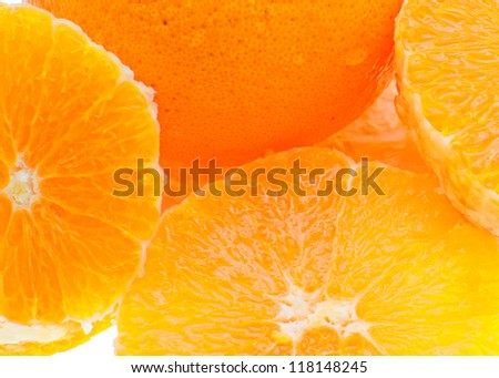 Close up of fresh orange on white background.