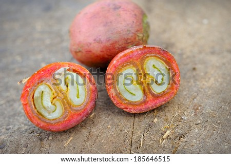 Close up of fresh raw coffee beans on texture background, selective focus.  - stock photo