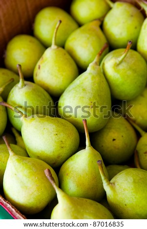 Close-up of fresh ripe delicious green pears