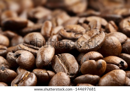 close up of fresh roasted coffee beans