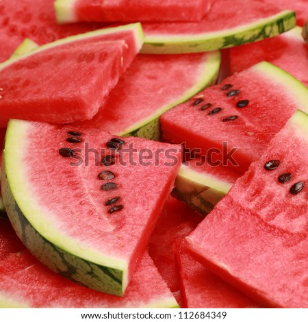 Close-up of fresh slices of red watermelon - stock photo