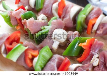 Close up of freshlu made meat sticks - stock photo