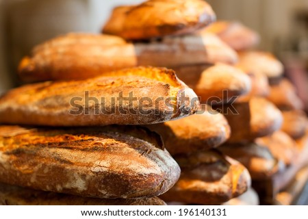 close-up of freshly baked bread - stock photo