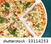 Close-up of freshly baked chicken pizza - stock photo