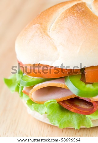 Close up of freshly made sandwich - stock photo