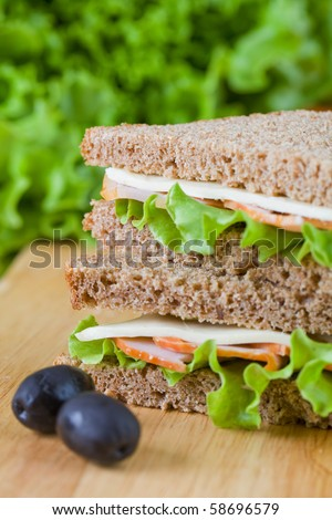 Close up of freshly made sandwich with dietetic bread - stock photo