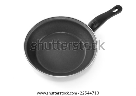 close up of fried egg in pan on white background with clipping path