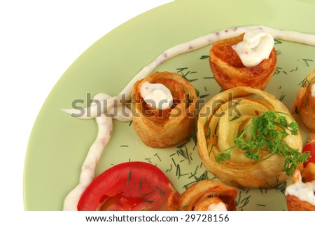 close up of fried potatoes with vegetables - stock photo