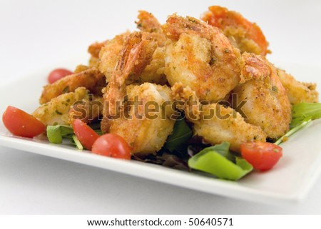 Close up of fried shrimp - stock photo