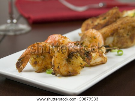Close-Up of Fried Shrimp - stock photo