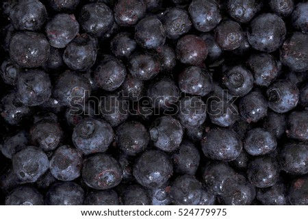 Close up of frozen blueberries
