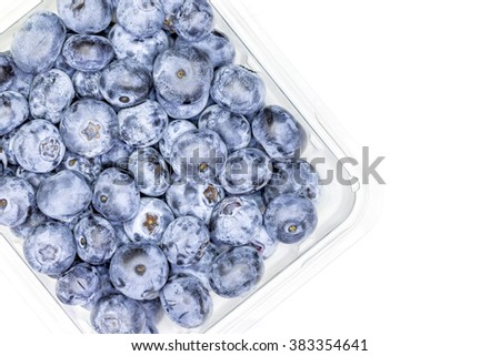 Close up of Frozen blueberries fruit - stock photo