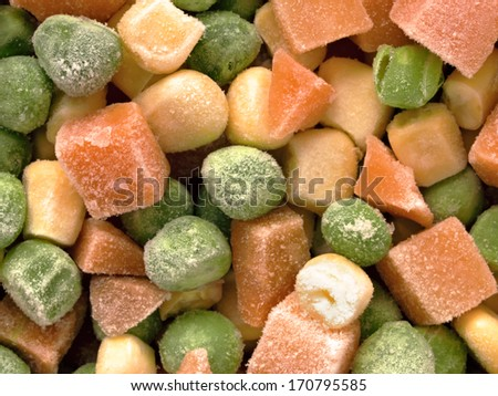 close up of frozen diced vegetables food background - stock photo