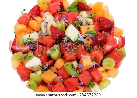 Close Up of Fruit Salad - stock photo