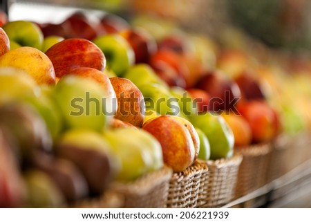 Close up of fruits in the store. Concept of healthy food - stock photo