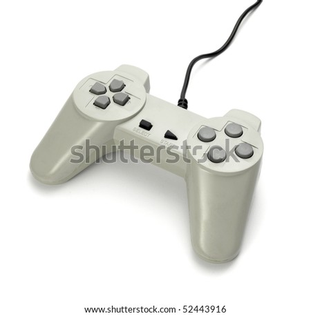 close up of gaming console on white background with clipping path - stock photo