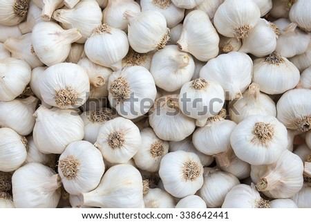 Close up of garlic on market stand , On top