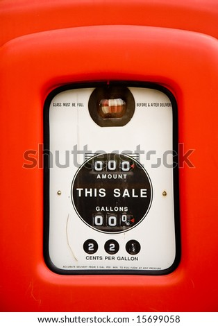 Close up of gas pump screen when gas was 22 cents per gallon - stock photo