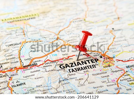 Close up of  Gaziantep, Turkey,  map with red pin - Travel concept - stock photo