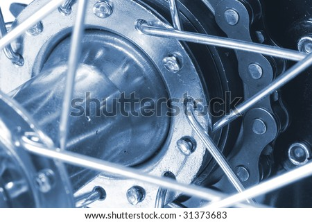 Close up of gears on a bike. - stock photo